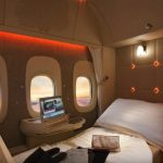 First class Emirates airlines bed