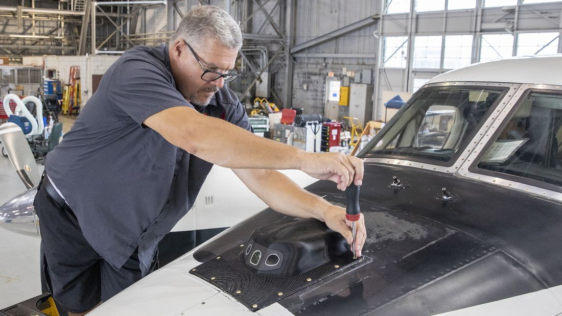 The camera providing the vision to fly is installed on a Beechcraft King air