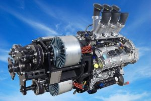 VoltAero's hybrid power module combines the power of an internal combustion engine and three electric motors