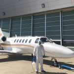 Atlas Air Service desinfecting a private jet